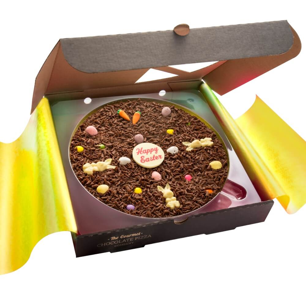 Our 10 inch Easter PIzza is adorned with a Happy Easter Chocolate plaque, white chocolate bunnies, orange sugar carrots and candy coated chocolate eggs
