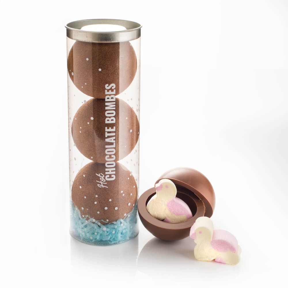 Each tube contains 3 x chocolate bombes with Duck marshmallows inside