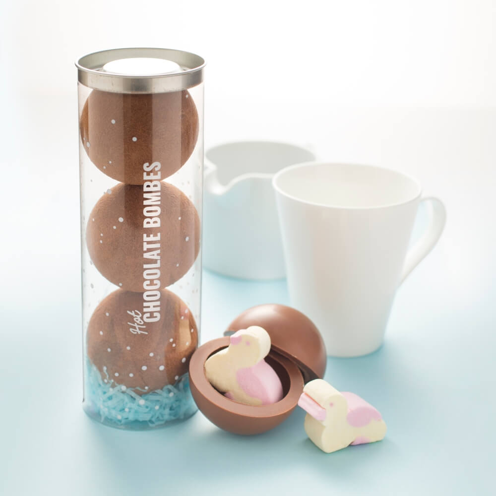 Spring Hot Chocolate Bombes with Marshmallow Ducks