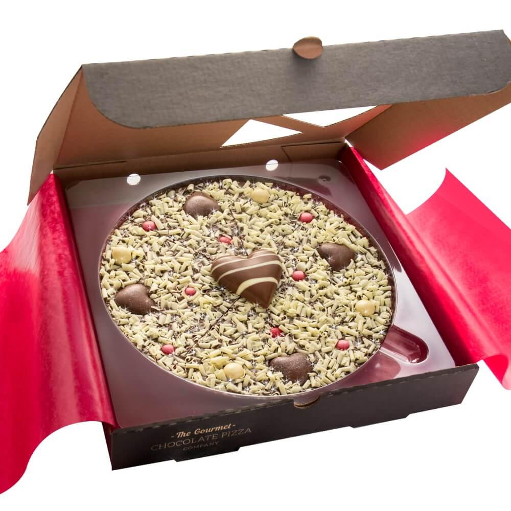 Our 10 inch Love pizza is hand-finished with a solid milk chocolate heart