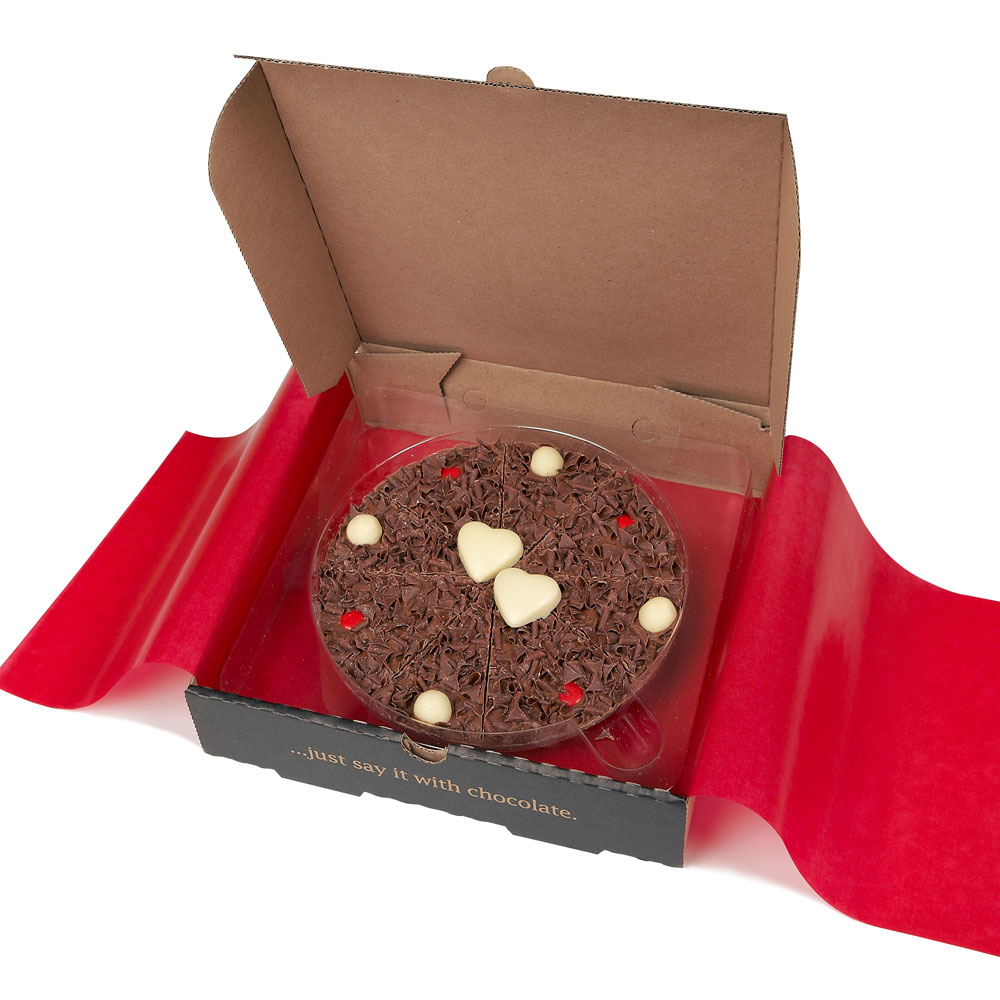 The 7 inch Love Chocolate Pizza is beautifully finished with two chocolate hearts