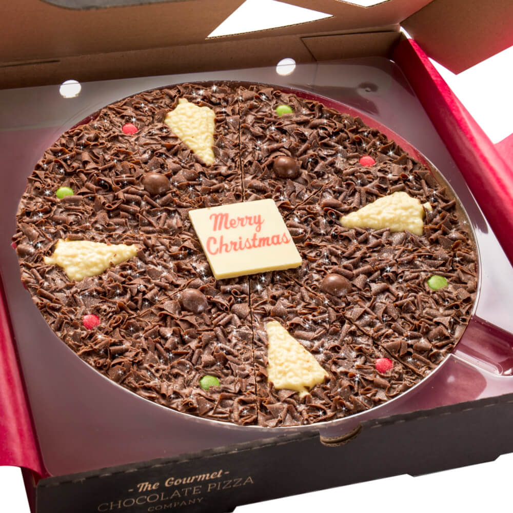 Close up of 10 inch Christmas Chocolate Pizza