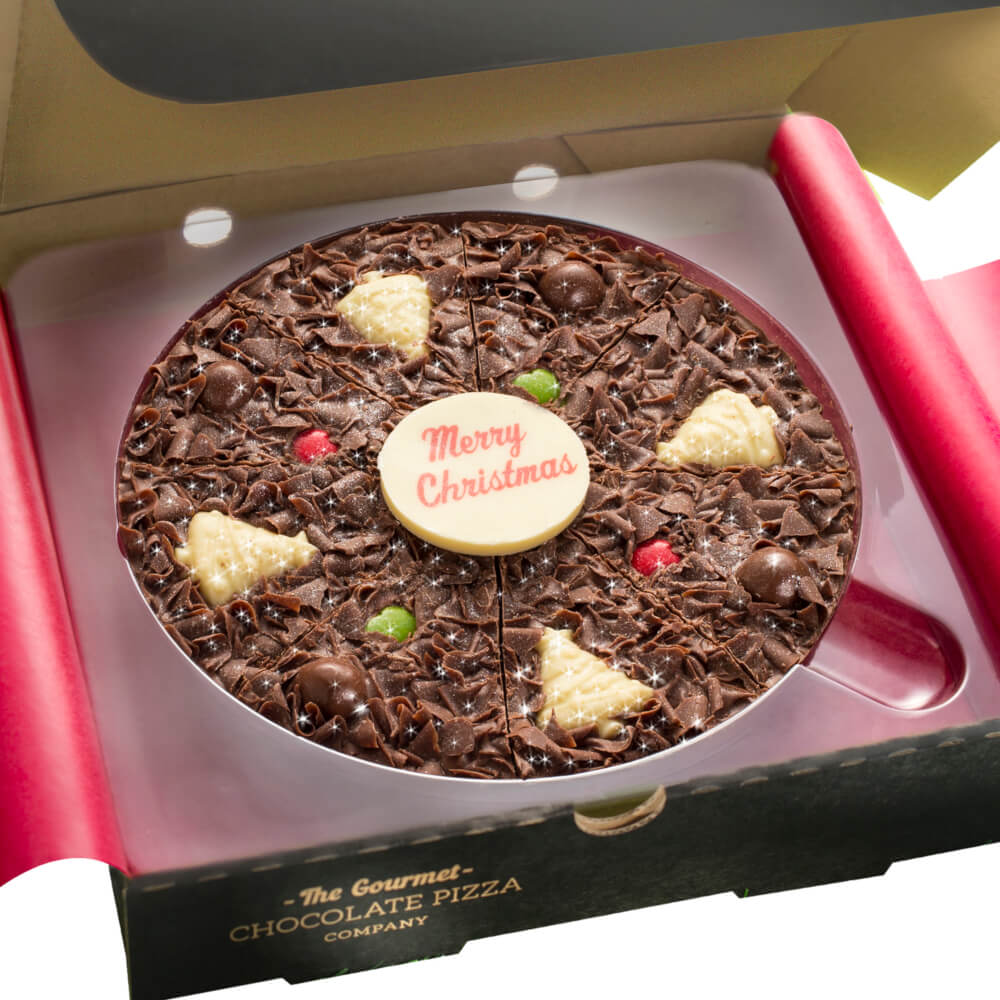 Close up of 7 inch Christmas Chocolate Pizza