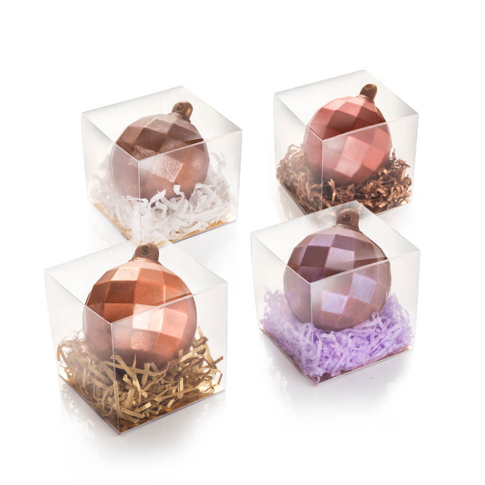 Milk Chocolate Baubles containg chocolate covered honeycomb pieces