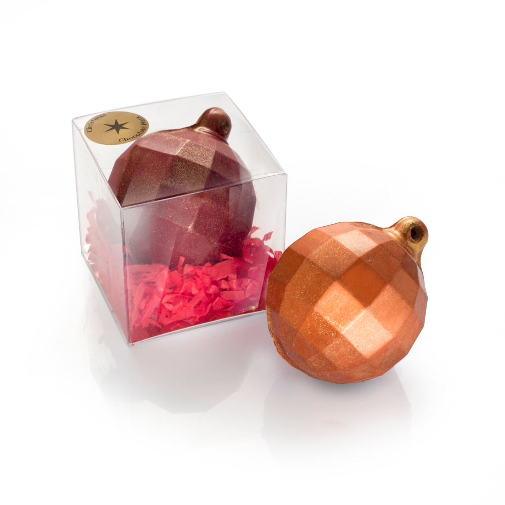 Our milk chocolate Christmas Baubles are finished with either a red or a bronze shimmer.