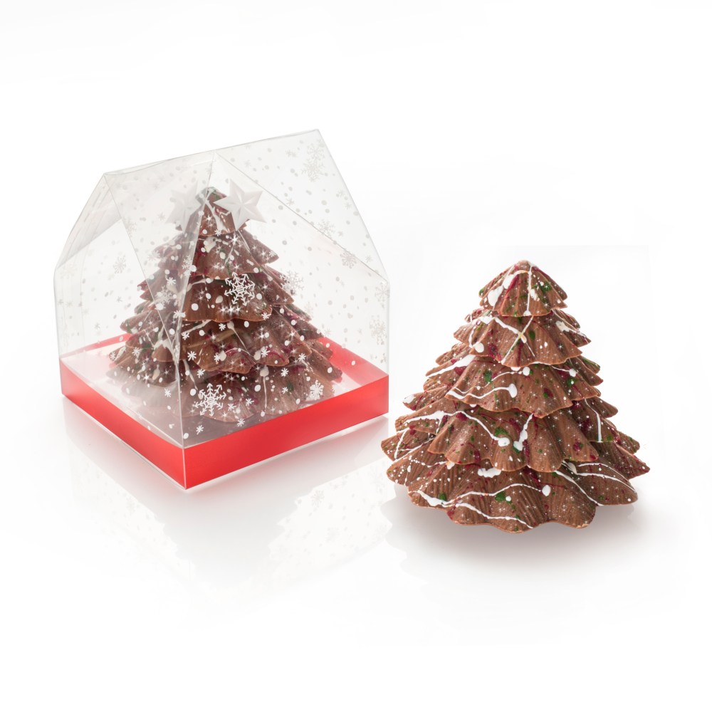 Solid Belgian Chocolate Christmas Tree - a unique festive gift.